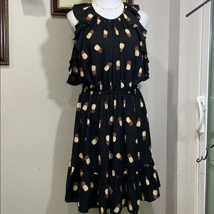 Kate spade black  pineapple dress Sz L
